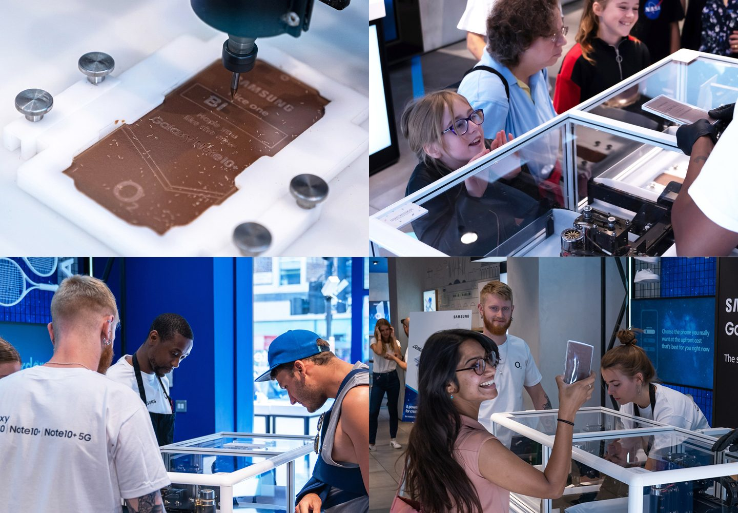 photo montage of chocolate engraving of Samsung Note10
