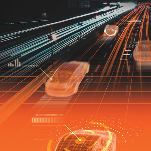Stylised image of a road and cars in Thatcham orange and grey
