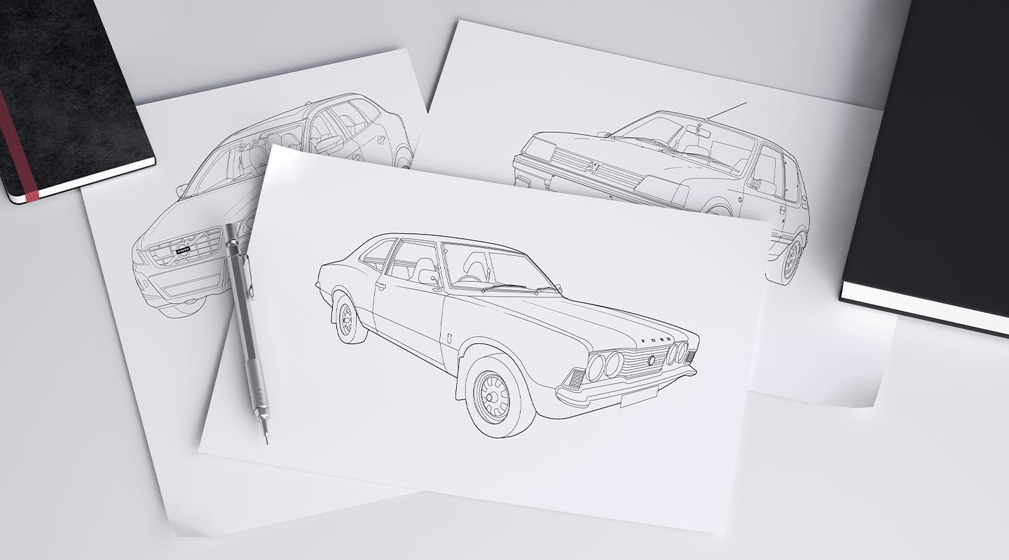Sketches of cars