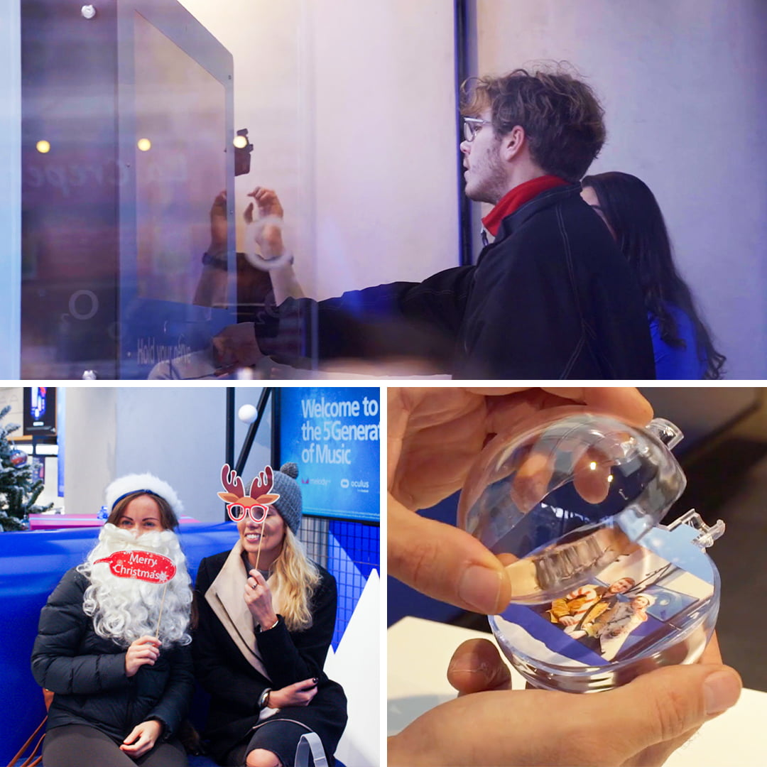 Experiential Christmas baubles and in-store fun for O2 Christmas campaign 2019