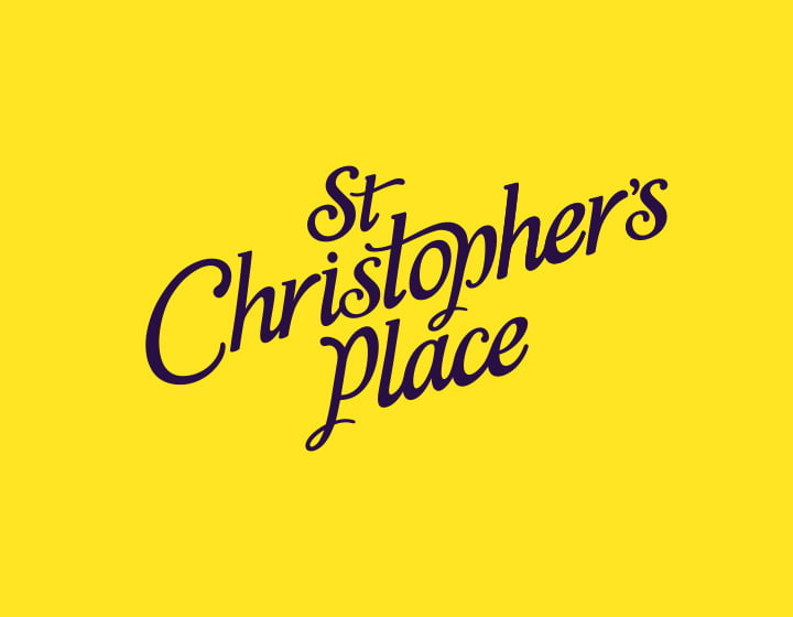 St Christopher's Place logo on yellow background