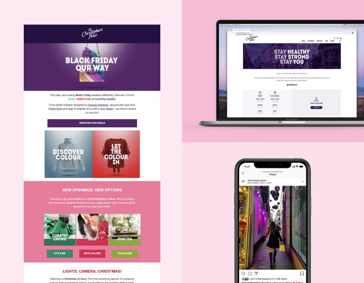 St Christopher's Place digital marketing screenshots